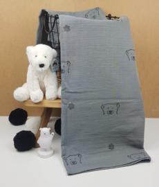 Bamboe Swaddle doek XXL Storm Grey IJsbeer-Polar bear-zwart