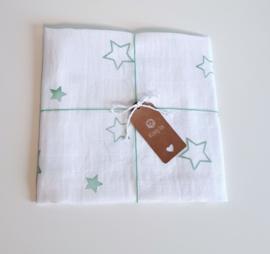 Hydrofiel doek mintgroene sterren