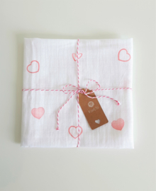 Hydrofiel doek hartjes roze