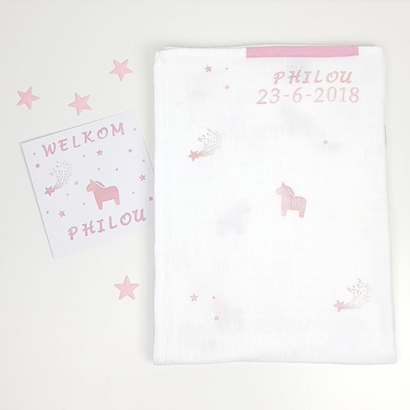 Swaddle doek XXL Unicorn- Eenhoorn - uni roze