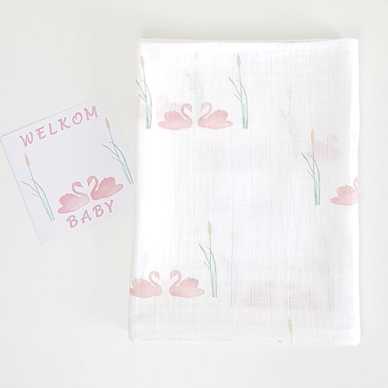 Swaddle doek XXL Zwaan-Swan - roze