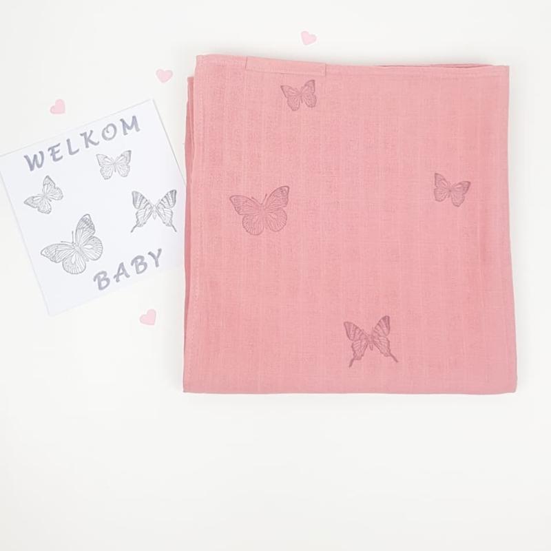 Swaddle doek XXL Roze- Vlinder-Butterfly-grijs