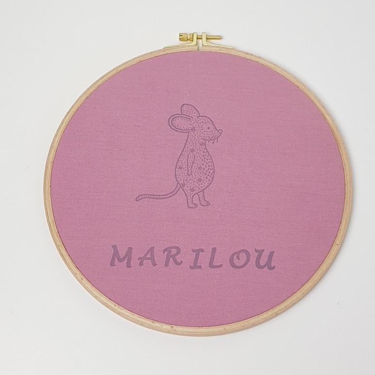 Wanddecoratie Borduurring - Muis - ø 23 cm