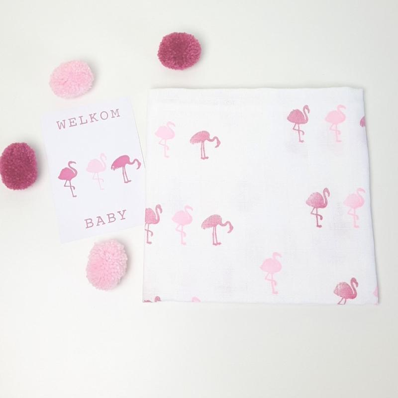Hydrofiel doek roze flamingo