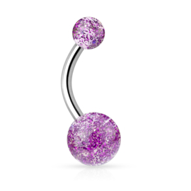 "Navelpiercing titanium glitterball's ""Purple"""