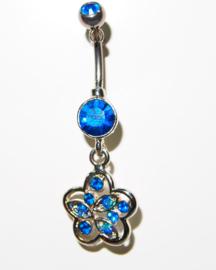 Navelpiercing bleu flower