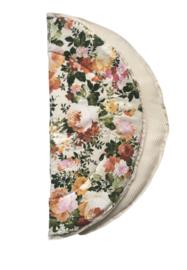 Rond boxkleed/ speelkleed ecru Flowers