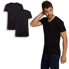 T-Shirt Velo • v-hals (2-pack) - Zwart - Bamboo Basics