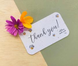 Cadeau- en bloemenkaartje - Thank you! - BLOOM your message