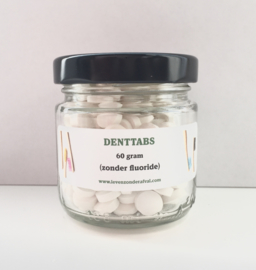 Tandenpoets tabletten - zonder fluoride - in een glazen pot - 60 gram - Denttabs