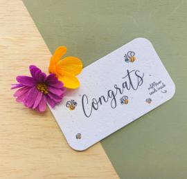 Cadeau- en bloemenkaartje - Congrats - BLOOM your message