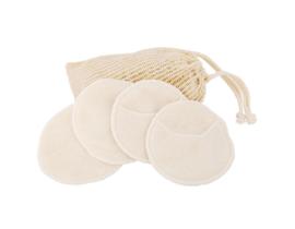 Wasbare pads set van 4 met waszakje - wit - Croll & Denecke