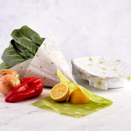 Vegan food wraps - set van 3 verschillende maten - Ecoliving