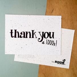 """Bloeikaart van BLOOM your message """"Thank you"""""""