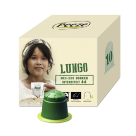 Koffiecapsules Lungo Mex Eco Donker  (composteerbare cups) - Peeze