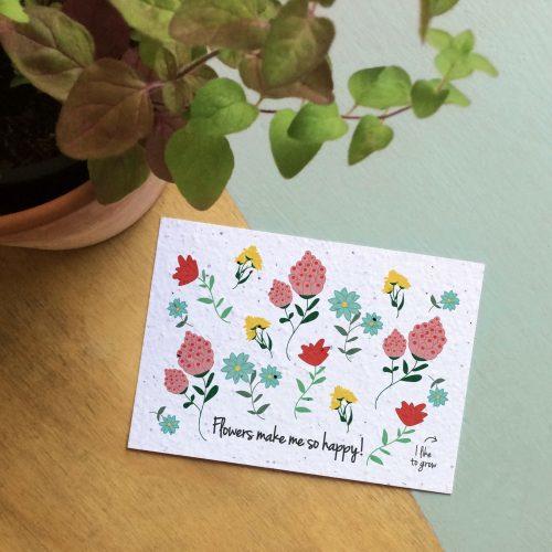 """Bloeikaart van BLOOM your message """"Flowers make me so happy"""""""
