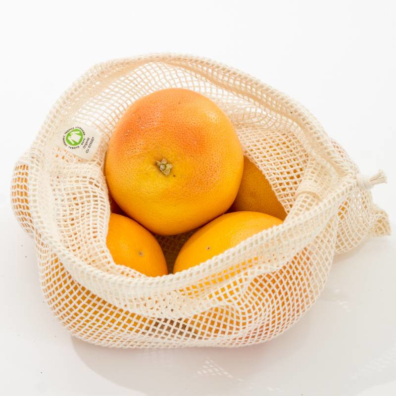 Voordeelset Groente en fruit netje van bio katoen Maat M (5 stuks) - Boweevil