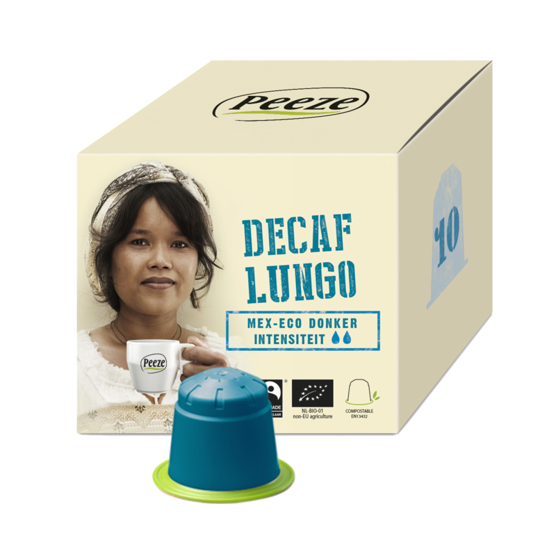 Koffiecapsules Lungo Decaf (composteerbare cups) - Peeze