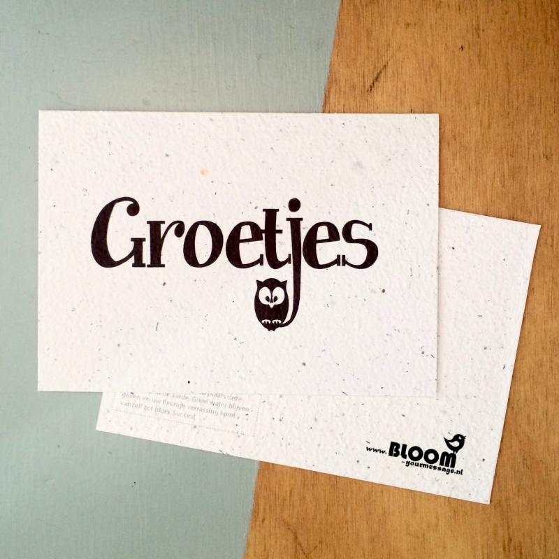 """Bloeikaart van BLOOM your message """"Groetjes"""""""