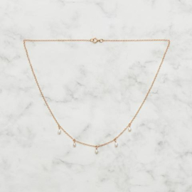 Ketting - Dangle Pearls goud