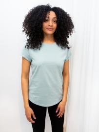 Organic shirt rolled sleeve oudroze -groen