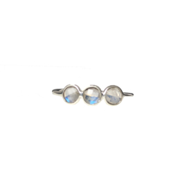 Moonstone triple round ring zilver