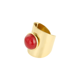 Grote ring natuursteen rood