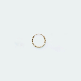 Hoop Earring diamond cut goud