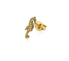 Earstud zeepaardje goud - zilver