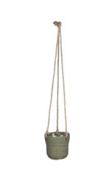 Hangpotje klein groen-grijs & taupe