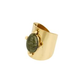 Statement ring groene natuursteen