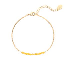 Armband gele steentjes goud