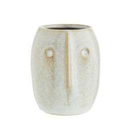 Keramiek bloempotje gezicht wit