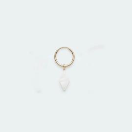 Hoop Earring Mother of pearls diamond goud