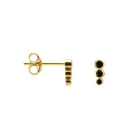 Earstud triple dot zwart goud