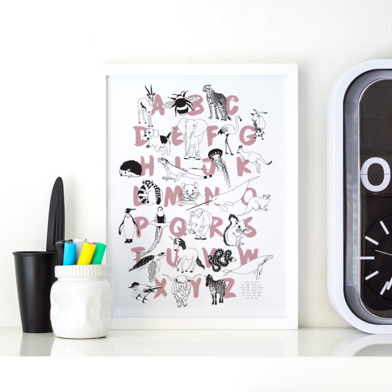 Alfabet print roze