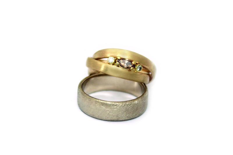 Ringenset met champagne kleurige diamant