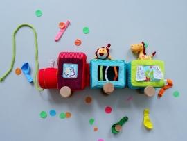 Vrolijke circustrein van zacht velours met dierfiguurtjes op houten wieltjes