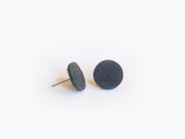 Leren ronde oorbellen Donkerblauw