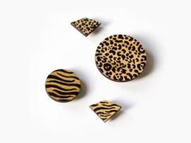 Houten broches dierenprint