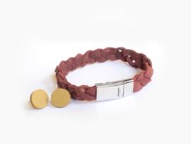 Leren gevlochte armband Roodbruin