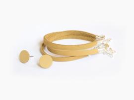 Leren smalle armband Geel