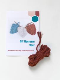 DIY macramé veer workshoppakket  brickred