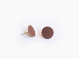 Leren ronde oorbellen Bruin