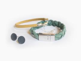 Leren gevlochte armband Aquamarijn