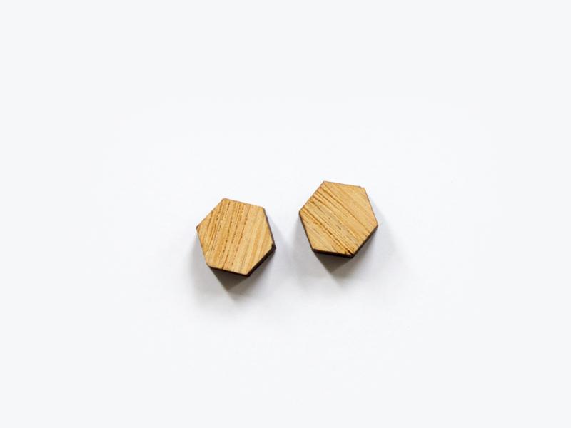 Houten knopjes hexagon