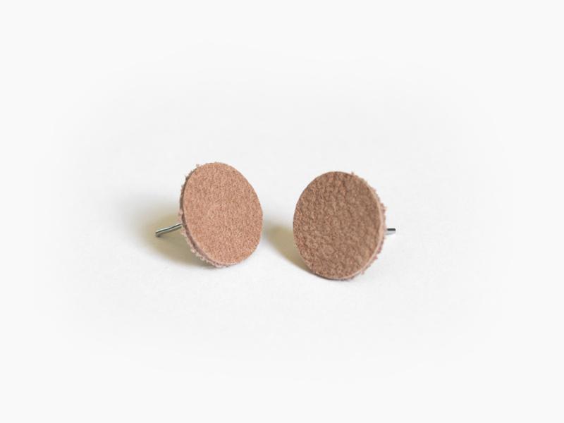Leren ronde oorbellen Oudroze
