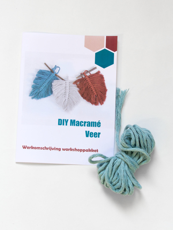 DIY macramé veer workshoppakket baby blauw