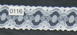 Kant wit bloem 3,5 cm breed.