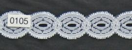 Kant wit cirkels / schulp 2,5 cm breed.